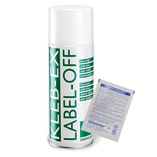 KLEB-EX 400ml Spraydose - Kleberlöser und Etikettenlöser - ITW Cramolin - 1341611 - Klebex - Etikettenentferner und Kleberentferner inkl. 1 St. DEWEPRO® SingleScrubs