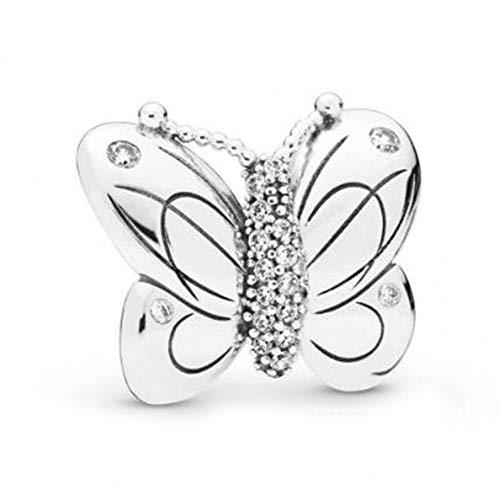 XIAODAN Charm de Mariposa Plata de Ley 925 trébol encantos de Mariposa se Ajustan a la Pulsera Original DIY joyería Coral