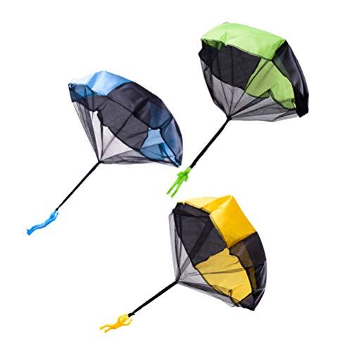 NUOBESTY Fallschirm Handwurf Spielzeug Set 3 Stück Fallschirm Spielzeug mit Soldat Figur für Kinder Outdoor-Spielzeug Geschenke Garten Spiele für Kinder