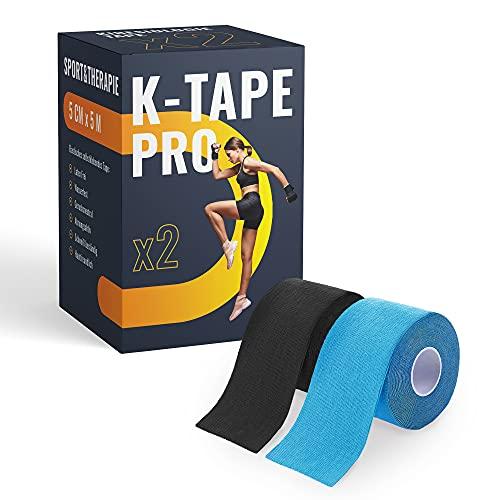 K-Tape Pro - Premium Kinesiologie Tape 5cm x 5m - Wasserfest & Elastisch - Kinesiotapes Set in versch. Farben | Physio Tape | Sport Tape (2er Set, Blau & Schwarz)