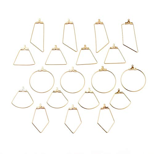 Beadthoven 20pcs Beading Hoop Earring Findings 5 Styles Ring Sector Geometric 304 Stainless Steel Ear Wire Hoops with 2 Loops for Earring Jewelry Making(Golden)