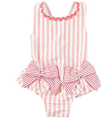 Mud Pie Girls' Pink Bow Swimsuit, 3-6 Months (Infant)