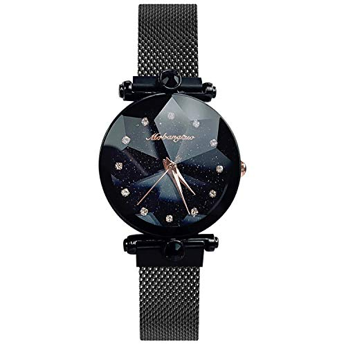 RORIOS Damen Uhren Armbanduhren Analog Quarz Leuchtenden Sternenklarer Himmel Edelstahl Mesh Band Damenuhr Armbanduhr Women Watches