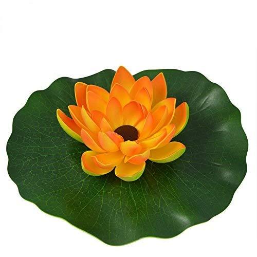 AMUR SOLAR SPRINGBRUNNEN SOLARTEICHPUMPEN Set WASSERSPIEL SOLAR TEICHDEKO SCHWIMMEND (Lotus-Blume – Orange)