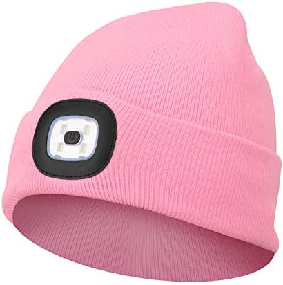 Beanie Hat with Light Unisex LED Beanie Hat with Light USB Rechargeable Running Hat Alpine Cap product image