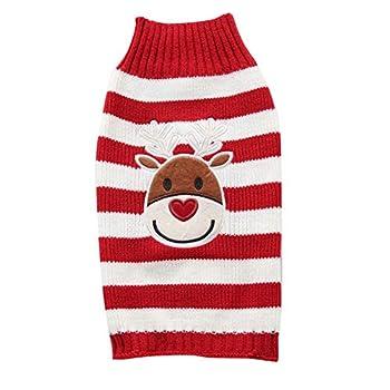 Tineer Pet Xmas Pull-Overs - Pull Chiot Sweater à Capuche Tricots Halloween Cartoon Chaud Manteau vêtements de Noël pour Petits Chiens Moyens Chats Lapins (S, Elk Red Strip)