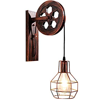 Bowrain 1 Light Fixture Industrial Mid Century Retro Iron Wall Sconce Lift Pulley Wall Lamp Features The Matte Iron Cage Lamp Shade (Rust Color)
