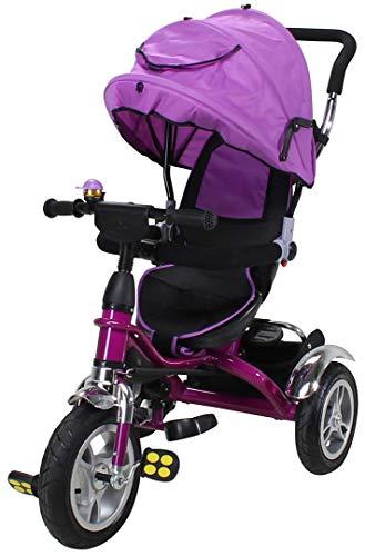 Miweba Kinderdreirad Schieber 7 in 1 Kinderwagen - 360° Drehbar - Luftreifen - Heckfederung - Laufrad - Dreirad - Schubstange - Ab 1 Jahr (Lila)