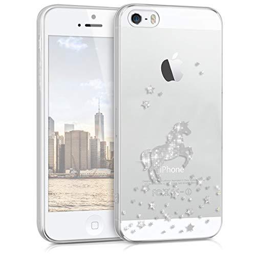 kwmobile Hülle kompatibel mit Apple iPhone SE (1.Gen 2016) / 5 / 5S - Handyhülle - Handy Hülle Einhorn Silber Transparent