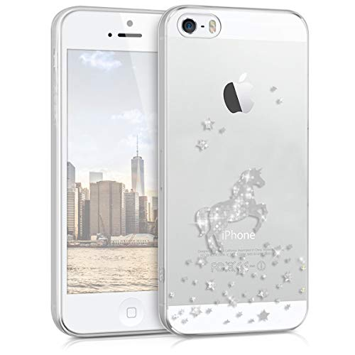 kwmobile Hülle kompatibel mit Apple iPhone SE (1.Gen 2016) / 5 / 5S - Handyhülle - Handy Case Einhorn Silber Transparent