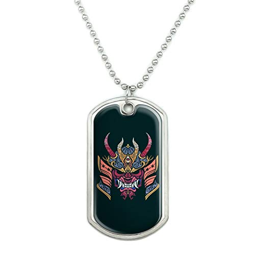 GRAPHICS & MORE Samurai Warrior Japanese Demon Oni Mask Military Dog Tag Pendant Necklace with Chain