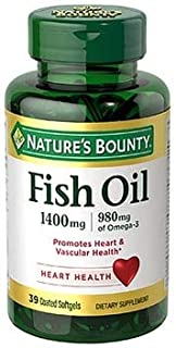 Nature's Bounty Odorless Fish Oil 1400 mg Triple Strength - 39 Coated Softgels, Pack of 5