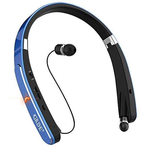 Bluetooth Headset, GRDE Wireless Headphones-[30 Hrs Playtime] Wireless Neckband Foldable Sport Earbuds with Mic Retractable Bluetooth Earphones Compatible for X/8/7 Plus Samsung Galaxy S7 S8 S9 (Blue