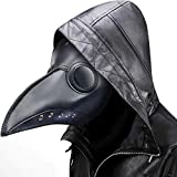 Plague Doctor Mask Steampunk Bird Beak Costume Long Nose Crow Beak Halloween Cosplay PU Costumes For Unisex-Kids/Adults (Black)