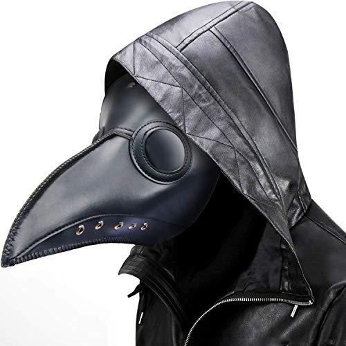 Plague Doctor Mask Steampunk Bird Beak Costume Long Nose Crow Beak Halloween Cosplay PU Costumes for Unisex-Kids/Adults (Black)