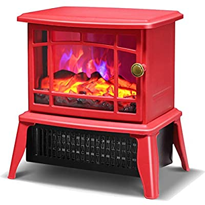YYBF Electric Fireplace Stove Heater, Freestanding Electric Fire Place Indoor Heater, Log Wood Burning Effect Flame, with Remote Control, 2 Heat Settings, 3 Colors