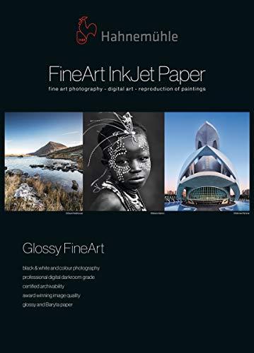 Hahnemühle 10641661 Digital FineArt Photo Rag Baryta Papier, 315 g/m², DIN A3+, 329 x 483 mm, weiß