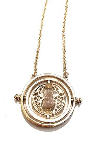 Giulyscreations - Collar con colgante de corona de metal y níquel libre inspirado en Harry Potter, grabado de reloj de arena Hogwarts Grifforo Fantasy Cosplay