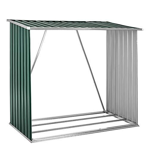 Brennholzunterstand Brennholz Holz Regal Lager Kaminholz Unterstand Metall Grün