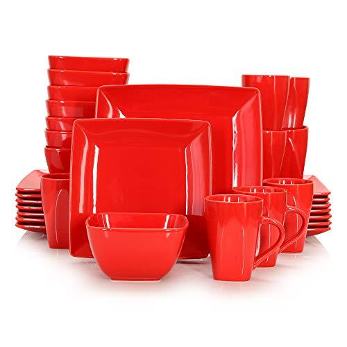 vancasso Serie Soho Vajillas de Porcelana 32pcs Completas Modernas para 8 Personas, con Platos Llanos, Platos Postre,...