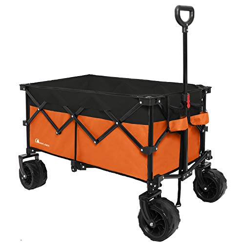 Moon Lence Collapsible Outdoor Utility Wagon Heavy Duty Folding Garden Portable Hand Cart with All-Terrain Beach Wheels, Adjustable Handle & Drink Holders