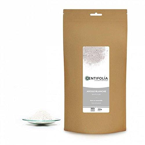 CENTIFOLIA - Argile Blanche - Peaux sèches et sensibles - Calmer les irritations - Poudre 100% pure et sans additif - Visage, corps & cheveux - 250gr