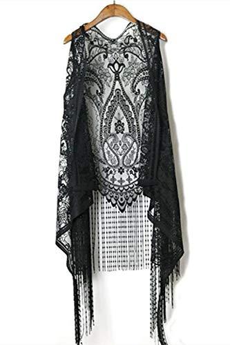 Ecloud Shop Floral Lace Cardigan Front Open Ärmellose Beachwear Fransenweste Durchsichtige Tops Aushöhlen Schal für Frauen Mädchen Sommer (Schwarz,Quaste)