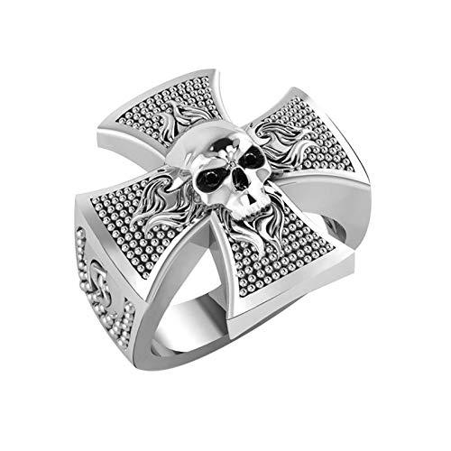 Silver Smile Solid Sterling Falming Skull on Celtic Cross Ring, Men's Biker Jewelry