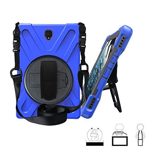 Funda Galaxy Tab S4 10.5, Híbrido Tres Capas Funda Carcasa Protector con Correa de Bandolera y Mano, 360 Rotación Kickstand para Samsung Galaxy Tab S4 10.5 Inch 2018 SM-T830 / T835 - Azul