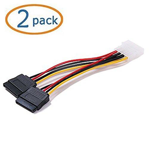 Molex 4pin a 2X 15pin SATA Cable de alimentación para IDE a Serial ATA disco duro SATA de alimentación adaptador de cable