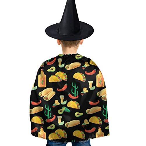 Amoyuan Unisex Kids Kerstmis Halloween Heks Mantel Met Hoed Mexicaanse Naadloze Voedsel Wizard Cape Fancy Jurk