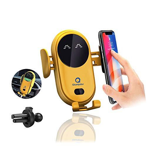 Soporte Movil Coche [2 en 1],Soporte Móvil Teléfono para Salida de Ventilación del Coche con Rotación de 360 Grados Compatible para iPhone 12 Pro XR XS 11 8 7 Plus(Amarillo)