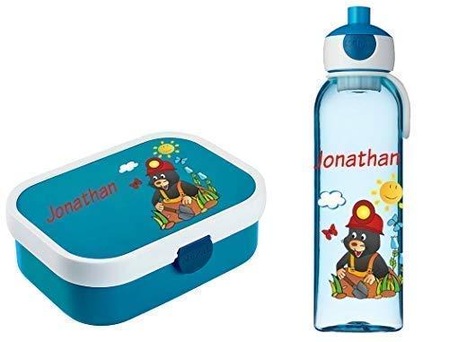 Mein Zwergenland Brotdose Mepal Campus inkl. Bento Box und Gabel + Campus Wasserflasche mit Namen Blau, Maulwurf