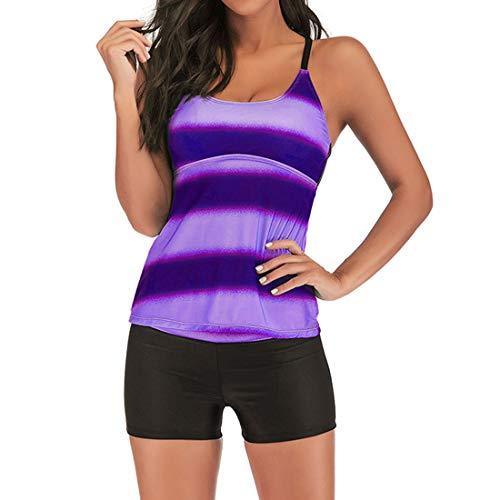 Costume da Bagno Donna Pancia Costumi da Bagno Tankini con Hotpants Costumi da Bagno Due Pezzi Strisce Abbigliamento Spiaggia Danza Hawaii Travel Honeymoon Beach Boyshort Beachwear XL D-Purple