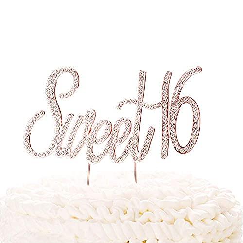 Sweet 16 Rhinestone Cake Topper Rose Gold Sixteen Happy 16 Birthday Premium Quality Glitter Crystal Diamond Bling Sparkle Gem Monogram Number Party Supplies Decoration Keepsake