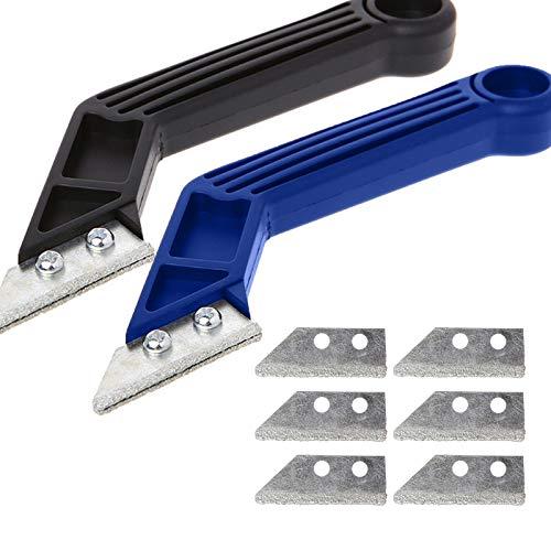 2 herramientas de extracción de mortero y rasqueta para juntas con 6 cuchillas, rascador para azulejos, mortero de cocina, baño, suelo y azulejos de limpieza, color azul y negro