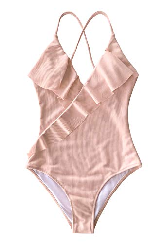 CUPSHE Women's Happy Ending Solid One-Piece Swimsuit Beach Swimwear Bathing Suit, M Pink