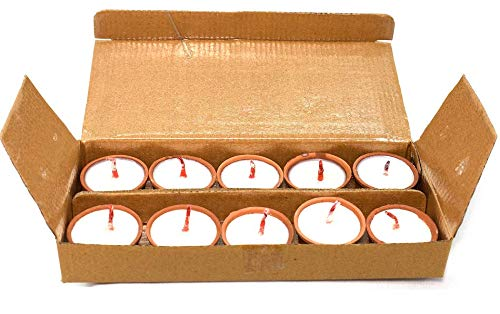 Pack of 10 Pure Cow Ghee Cotton Wick in mitti Diya puja Batti Home Decor Best for Gift