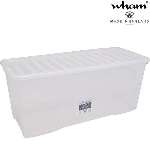 Hochwertige XXL Box mit Deckel, 133L, 99x39,5cm Sicherer Clip-Verschluss Stapelbar Lebensmittelecht Transparent Transport-Kiste Lagerbox Aufbewahrungs-Kiste Aufbewahrungsbox Stapelbox Spielzeugkiste