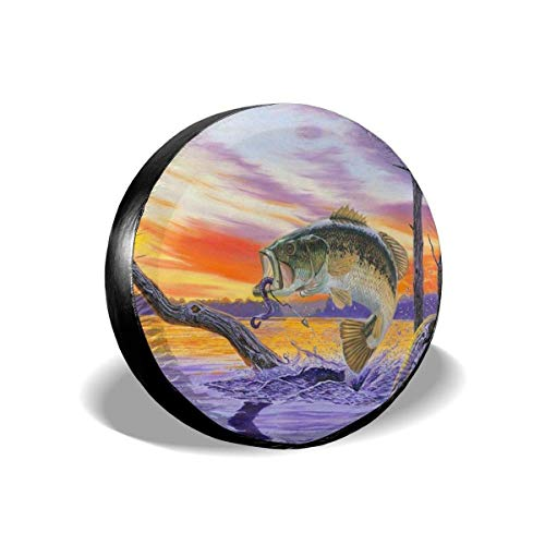 Jingliwang Reifenabdeckungen Bass Fish Spare Tire Cover Waterproof Dust-Proof UV Sun Wheel Tire Cover Fit...