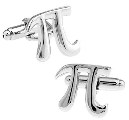 XKSWZD Manschettenknöpfe Männer Geschenk PI Manschettenknöpfe Umfang Verhältnis Design Silber Farbe Kupfer Manschettenknöpfe
