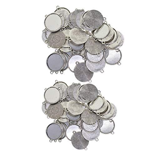 yotijar 100 colgantes de 20/18 mm, de plata tibetana, corona con hojas