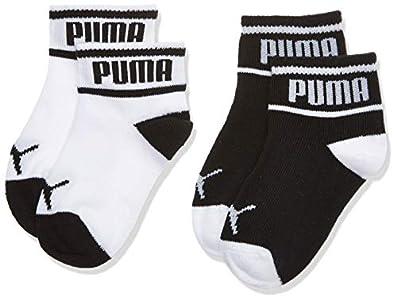 PUMA Wording Sock 2p Calcetines, Negro (Black/White 213), Talla única (Talla del fabricante: 15/18) (Pack de 2) para Bebés