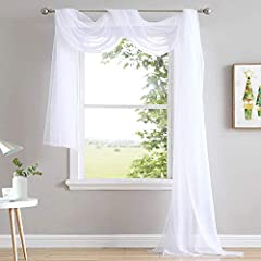 AMAZING MATERIAL: These lightweight scarf voile curtain is made in sheer material, touch to soft, and provides some privacy but allow light into the room. Sold as 1 panel. BEST DECORATION: The nice way it scarfs drapes adds a sense of romance and dra...
