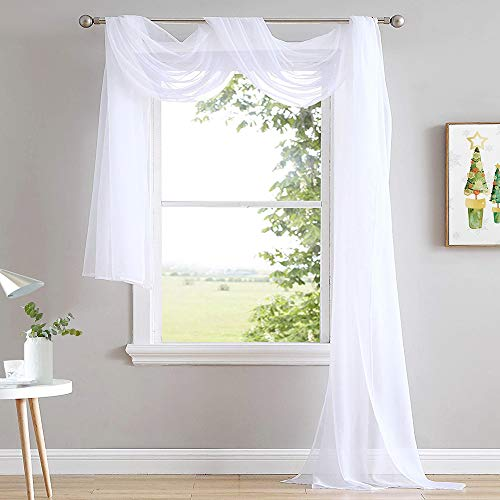 NICETOWN Sheer Curtains Panels 216 - Home Decoration Sheer Voile Bed Canopy Scarf Valance for Wedding (1 Panel, W60 x L216, White)