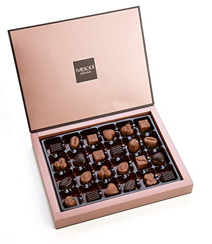 Melodi Chocolatier Assorted Chocolate Candy Truffles Box Limited Edition - Boyfriend Gifts for Women - Birthday, Anniversary Gifts for Him, Friends, Female, Teacher & Mom (24 Count, 8.8 Ounce)