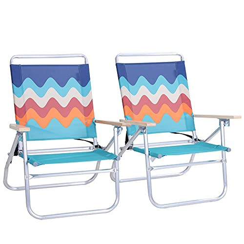 ALPHA CAMP Backpack Beach Chairs Set of 2 3 Position Classic Lay Flat Folding Beach Chair with Backpack Strap Support 250lbs,Blue
