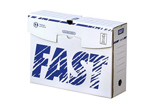 Fast Lot de 25 Boîtes Archives en Carton Dos 10cm Montage Manuel Blanc / Bleu