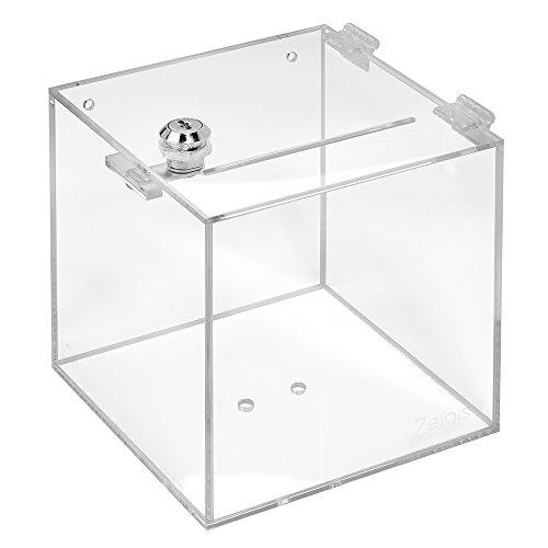 Losbox aus Acrylglas mit Schloß in 150x150x150mm - Zeigis® / Spendenbox/Aktionsbox / Gewinnspielbox/transparent / durchsichtig/Acryl / Plexiglas® / abschließbar