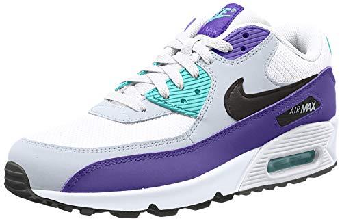 Nike Air Max '90 Essential Scarpe da Ginnastica Uomo, Multicolore (White/Black/Hyper Jade/Court Purple 103) 43 EU